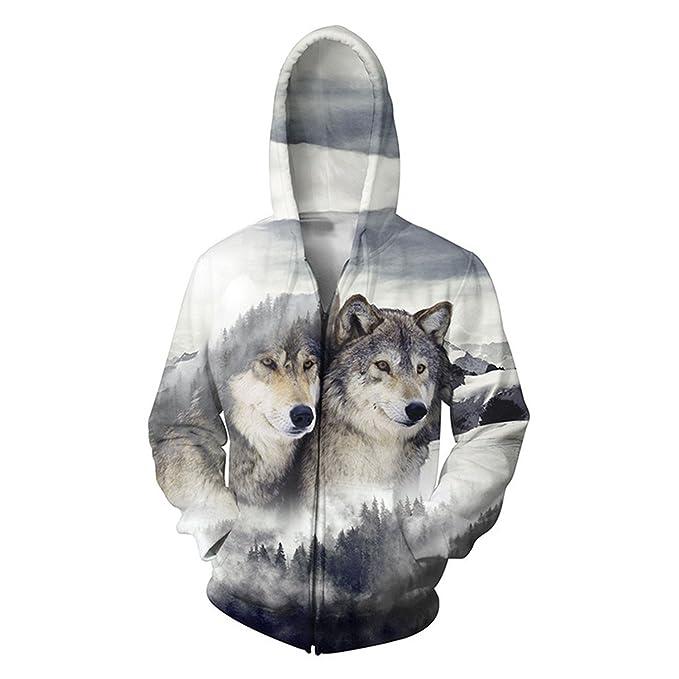 Amazon.com: Plus talla 5 X L para hombre sudaderas 3d wolf ...