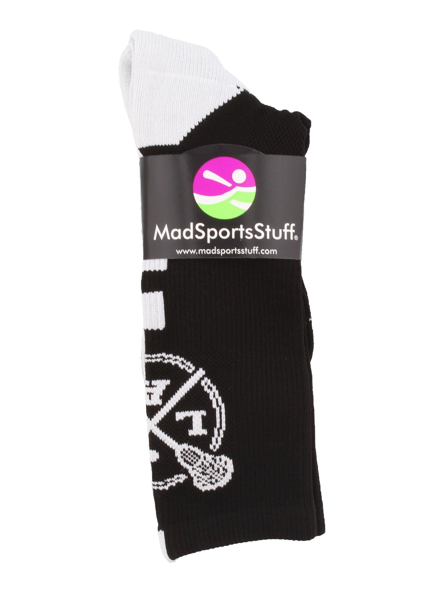 MadSportsStuff LAX Lacrosse Socks Lacrosse Sticks Athletic Crew Socks (Black/White, Large) by MadSportsStuff (Image #2)