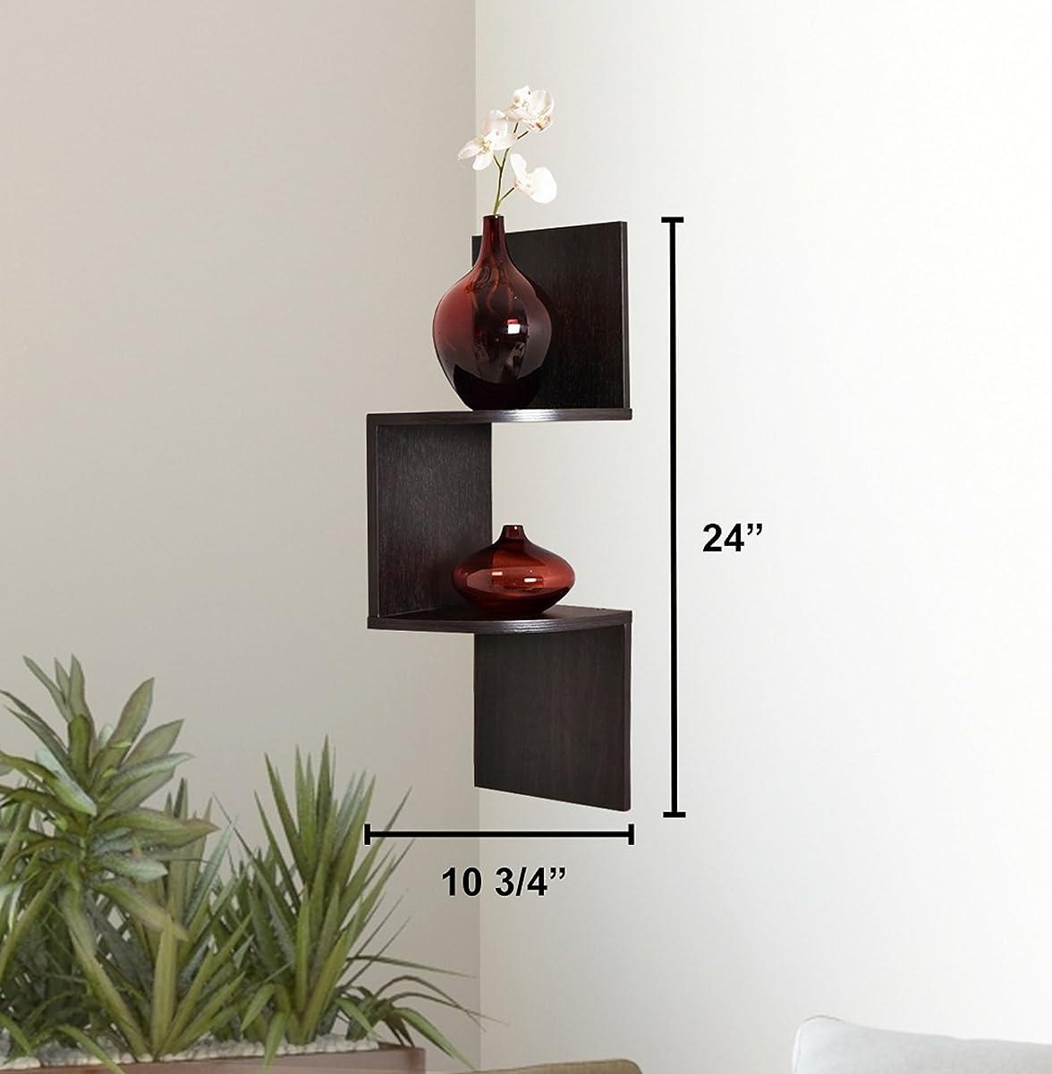 Greenco Zigzag 2 Tier Corner Floating Shelves, Espresso.