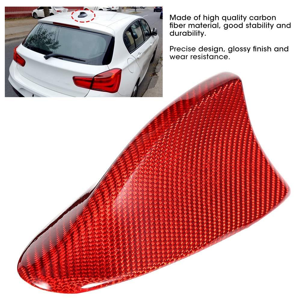KMISS Accesorio de cubierta de antena de aleta de tibur/ón roja de fibra de carbono para F10 Car 09-16