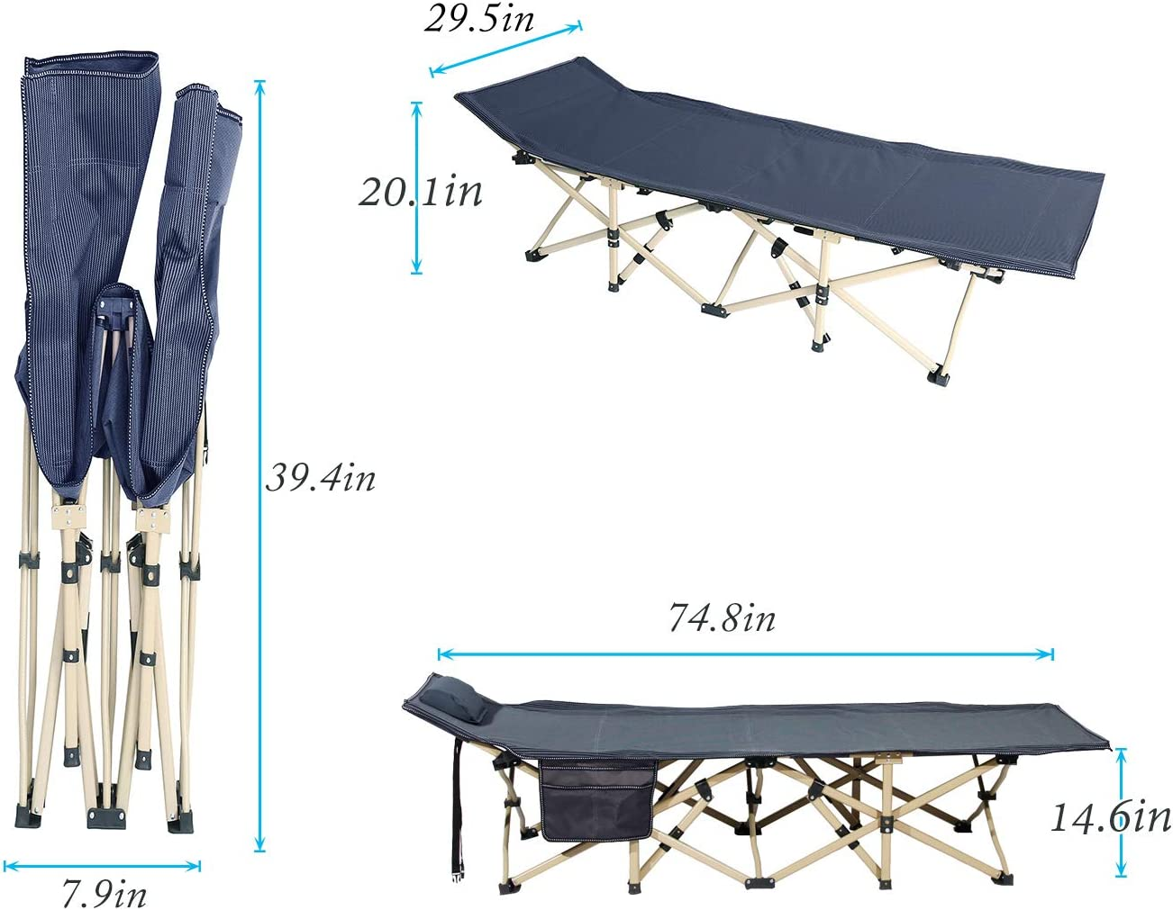 Light Weighted Sleeping Bed Side Pocked 74.8 x29.5 inches Portable Folding Outdoor Bed with Padded Pillow SogesPower Folding Camping Cot