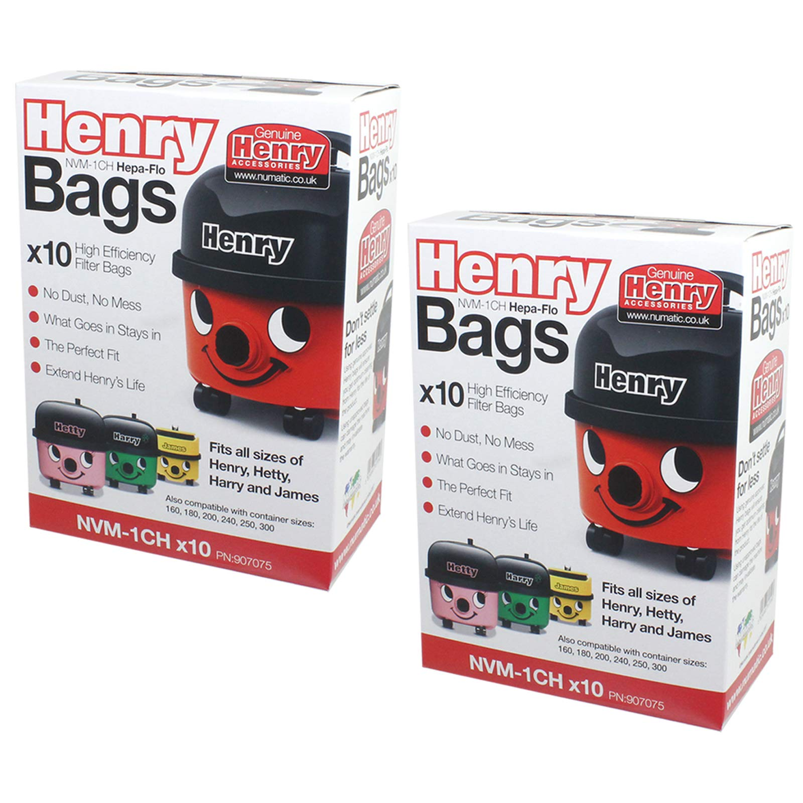 Numatic Henry Hoover Vacuum Cleaner Microfibre Dust Bags x 10 RED