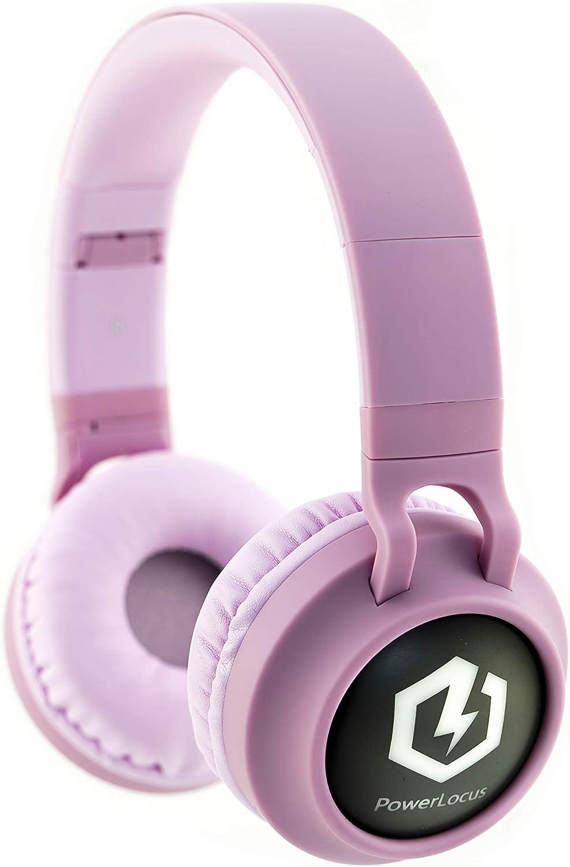 PowerLocus Auriculares Bluetooth de Diadema para niños, Cascos Bluetooth Inalámbricos, Auditiva Límite de 85DB, Sonido Estéreo, con Micrófono, Micro SD, Plegable, Estuche Cascos para Movil,Tablet,PC