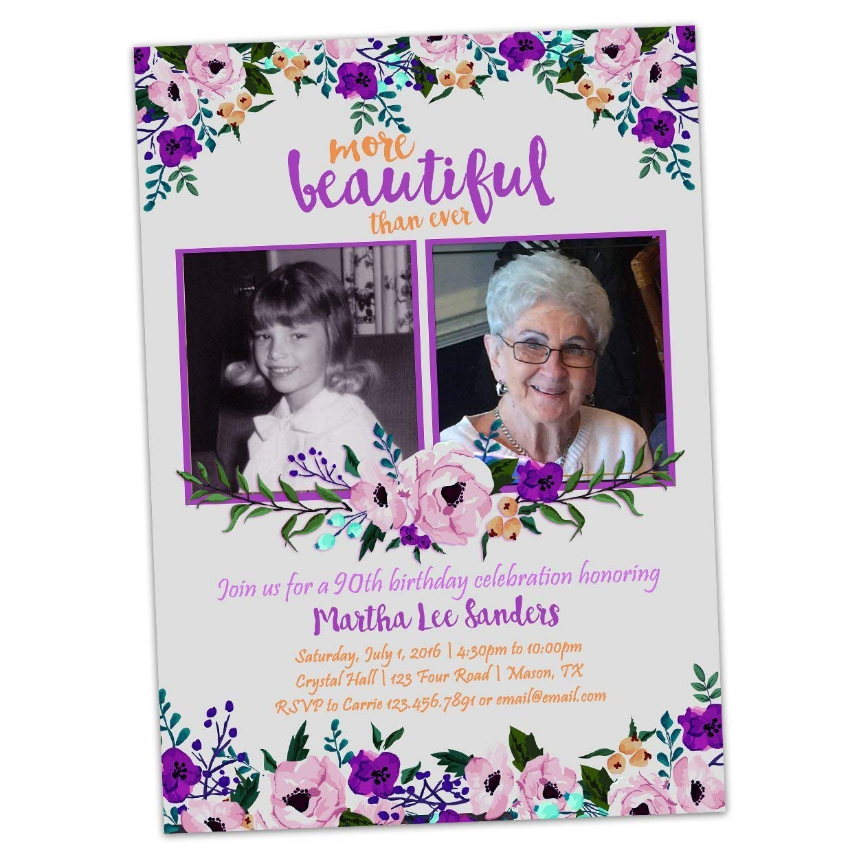Amazon Purple Floral Birthday Invitations For Woman 50th 60th 70th 80th 90th Handmade