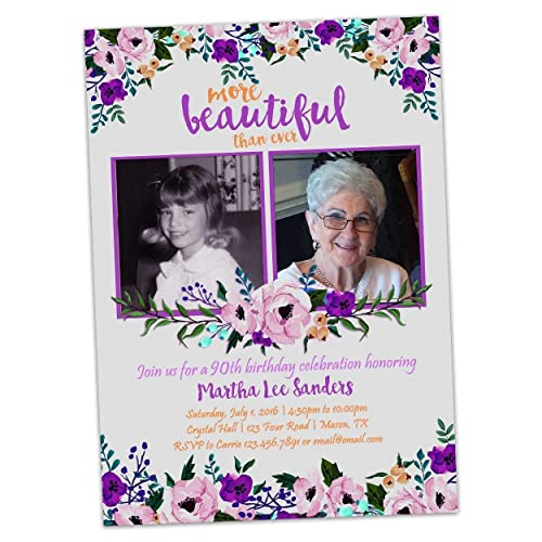 Amazon Purple Floral Birthday Invitations For Woman 50th 60th