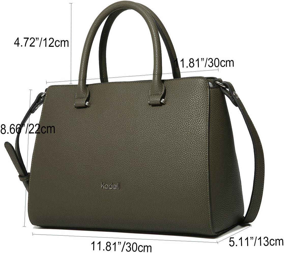 Kadell PU-Leder Handtaschen Damen Taschen Luxus Umhängetasche Top Griff Geldbörse Schwarz Armeegrün