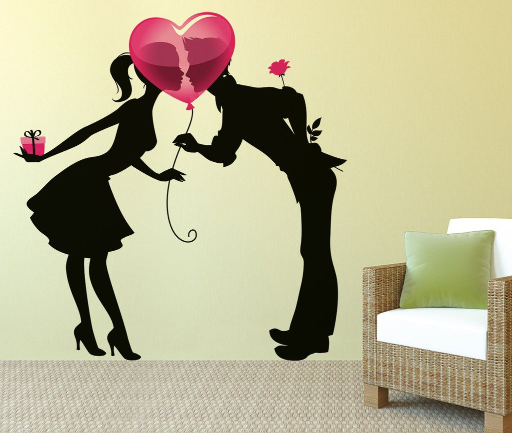 Buy Decals Design \'Kissing Couple Silhouette and Heart Balloon ...