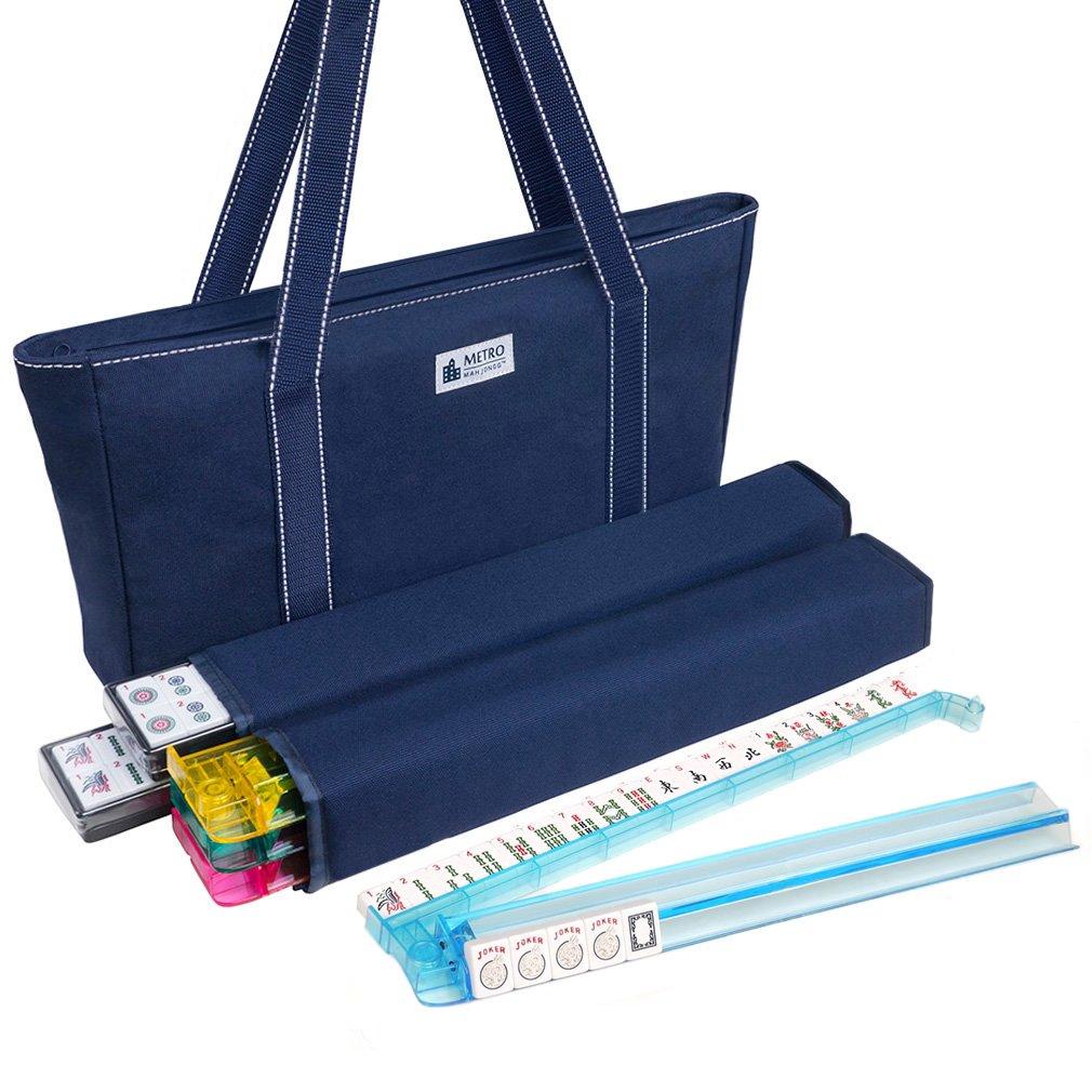 American Mah Jongg Set - 166 Premium White Tiles, 4 All-in-One Rack/Pushers, Blue Canvas Bag by American-Wholesaler Inc.