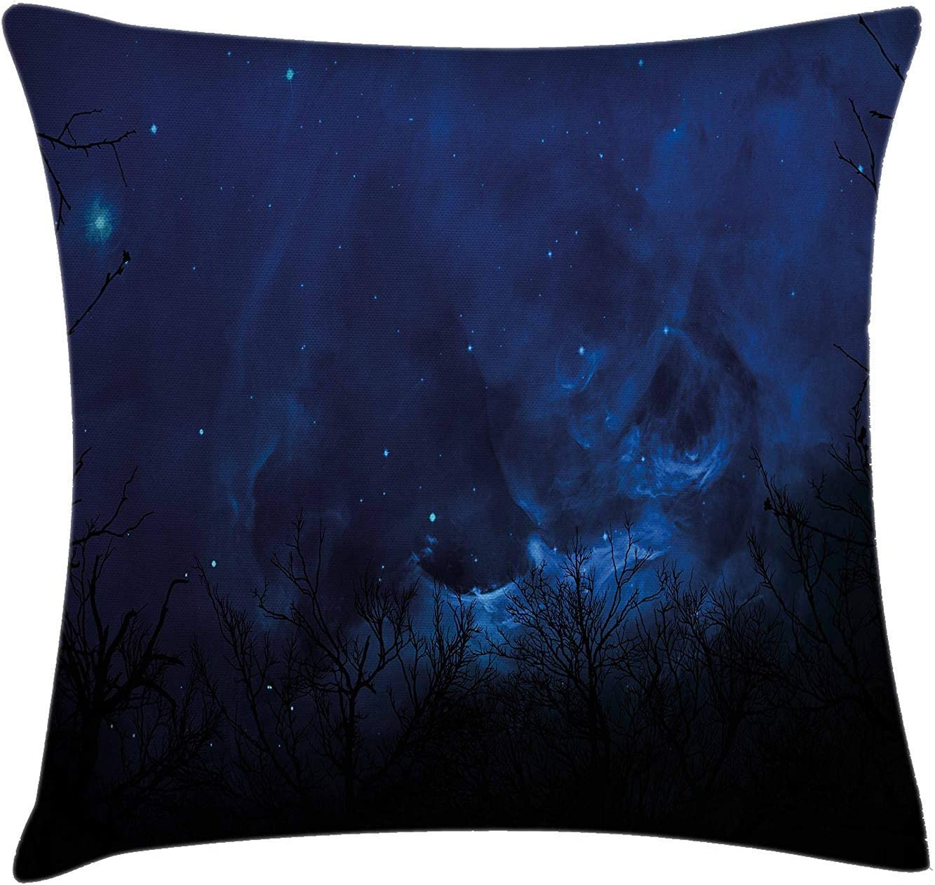 YABABY Night Sky Throw Pillow Cushion Cover, Deep Forest Branches Nocturnal Atmosphere Stars Nebula Space Artwork, Decorative Square Accent Pillow Case, 18 X 18 inches, Dark Blue and Black