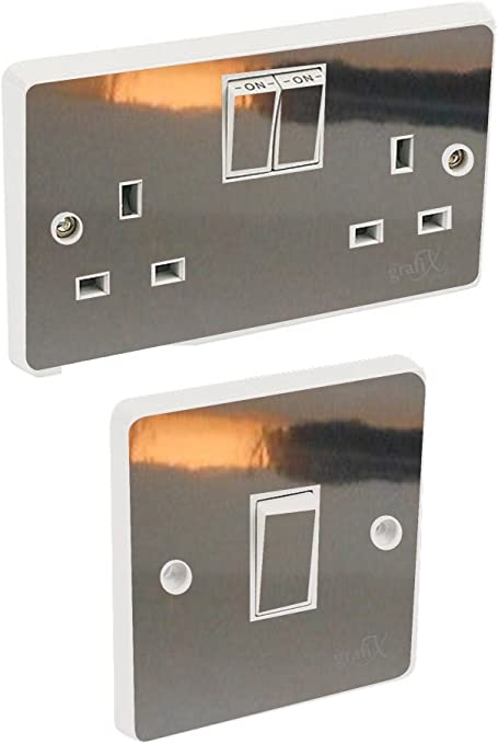 The Grafix Studio Chrome Silver Light Switch Double Socket Sticker Vinyl Skin Cover Amazon Co Uk Kitchen Home