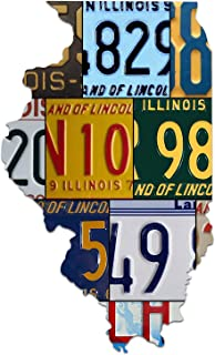 product image for ILLINOIS License Plate Cut Map Sign, LAND OF LINCOLN Metal Sign Home Decor Garage Art Great Gift Man Cave Dibond Aluminum UV Printed Rustic Sign Birthday Gift Patriotic Sign