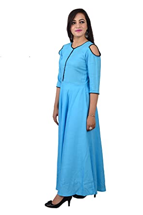 15df680856 Libas Closet blue long gown/long kurti with cold shoulder sleeves (Small)