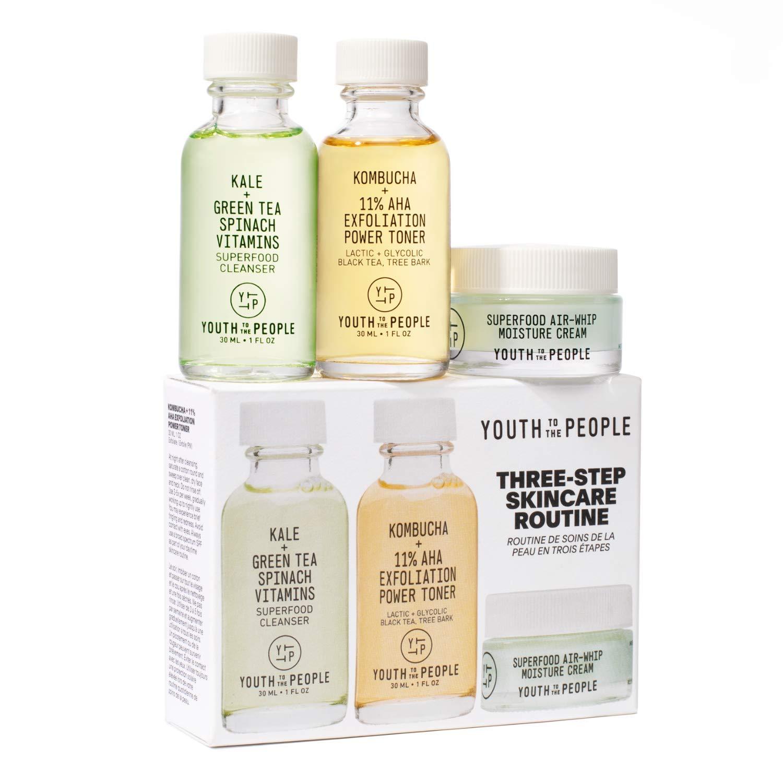 Youth To The People Mini Three Step Skincare Set - Clean Skincare Set - Superfood Cleanser (1oz) + Kombucha + 11% AHA Exfoliation Power Toner (1oz) + Superfood Air-Whip Moisture Cream (0.5oz): Beauty