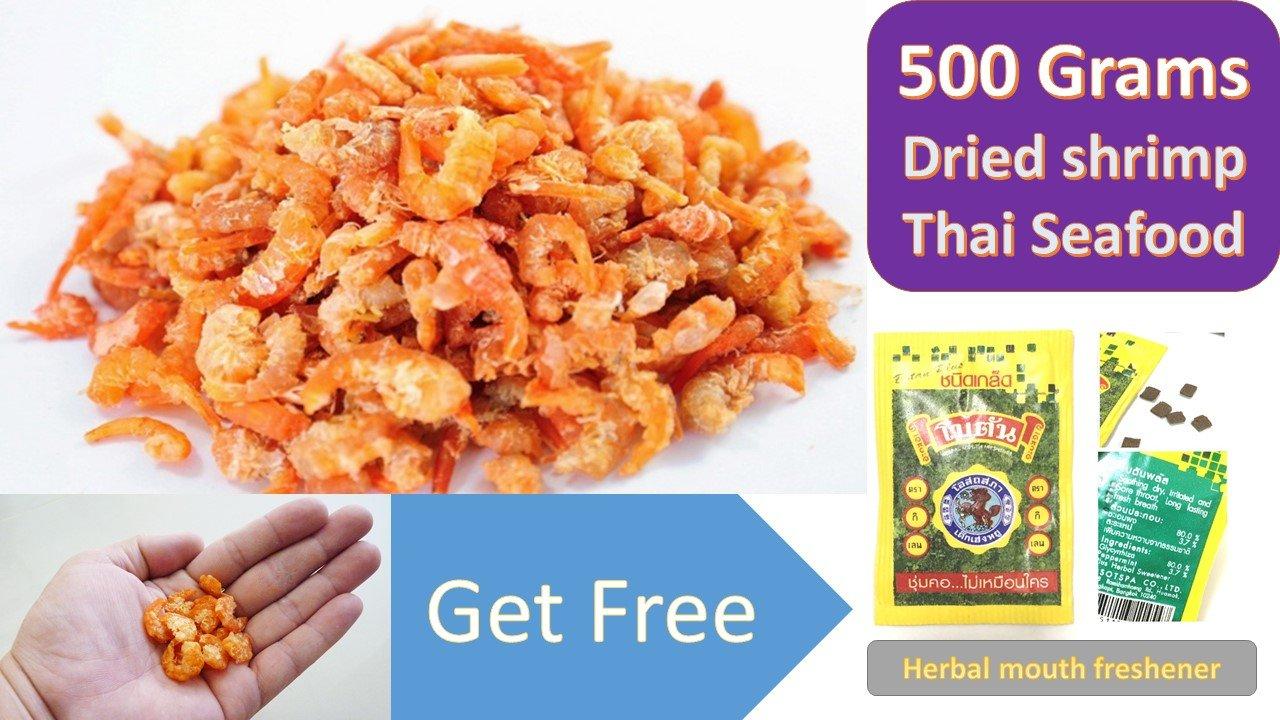 Thai Sea food ingredient shrimp Dried shrimp Seafood grade A for Cooking & Snack umami taste For Thai food menu 500 g.