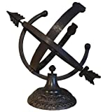 Rome 1332 Aluminum Armillary Sundial, Cast Aluminum with Brown Finish