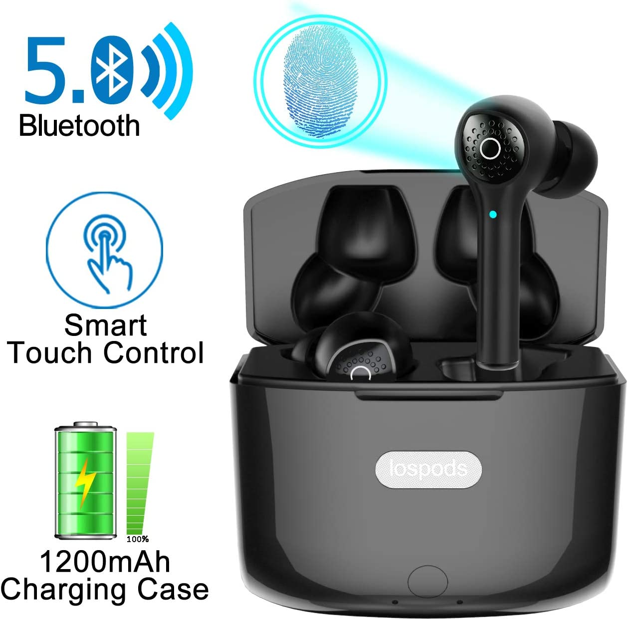 Amazon Com Wireless Earbuds With Crystal Clear Deep Bass Stereo Sound Bluetooth 5 0 Headphones With Smart Touch Control Noise Cancellation Mic Portable 1200 Mah Charging Case For Iphone And Android Home Audio Theater
