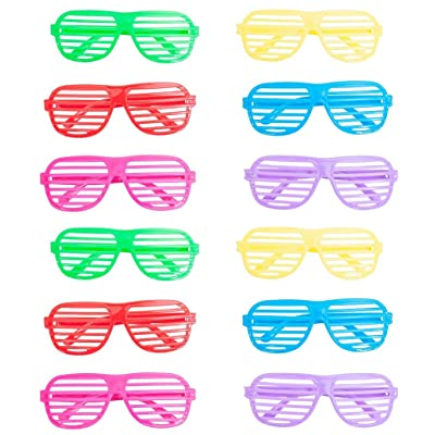 12 Pack Party Shutter Shades Glasses Frame Slotted Sunglasses Cute Eyeglasses Fashion Eyewear Props Favors Costume Assorted Colors for Kids Women Christmas Wedding Decorations