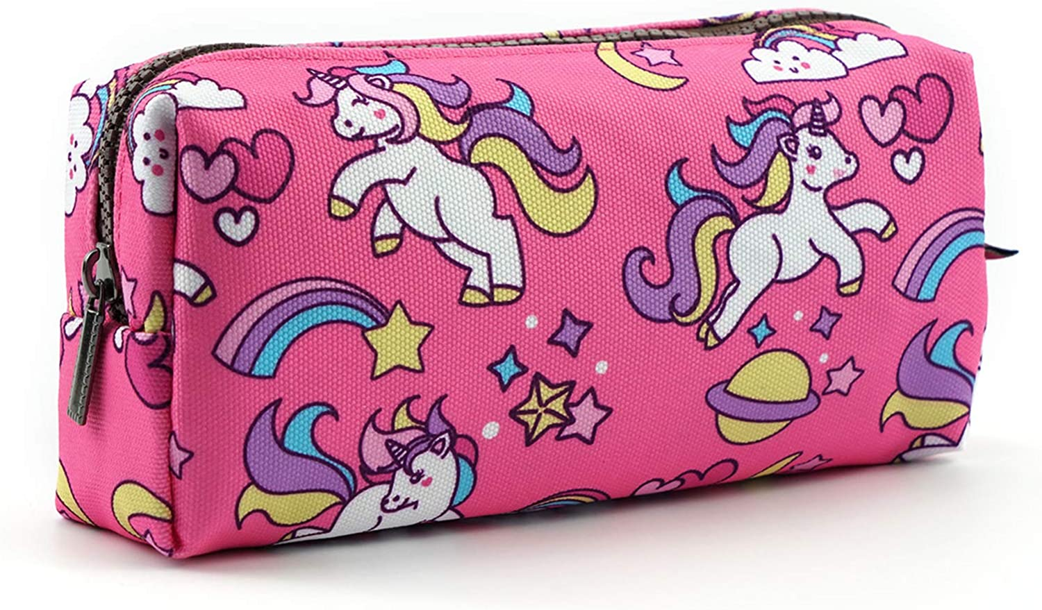 Details about  /Unicorn Pencil Bag Gray with Purple Pens Clips Guestbooks