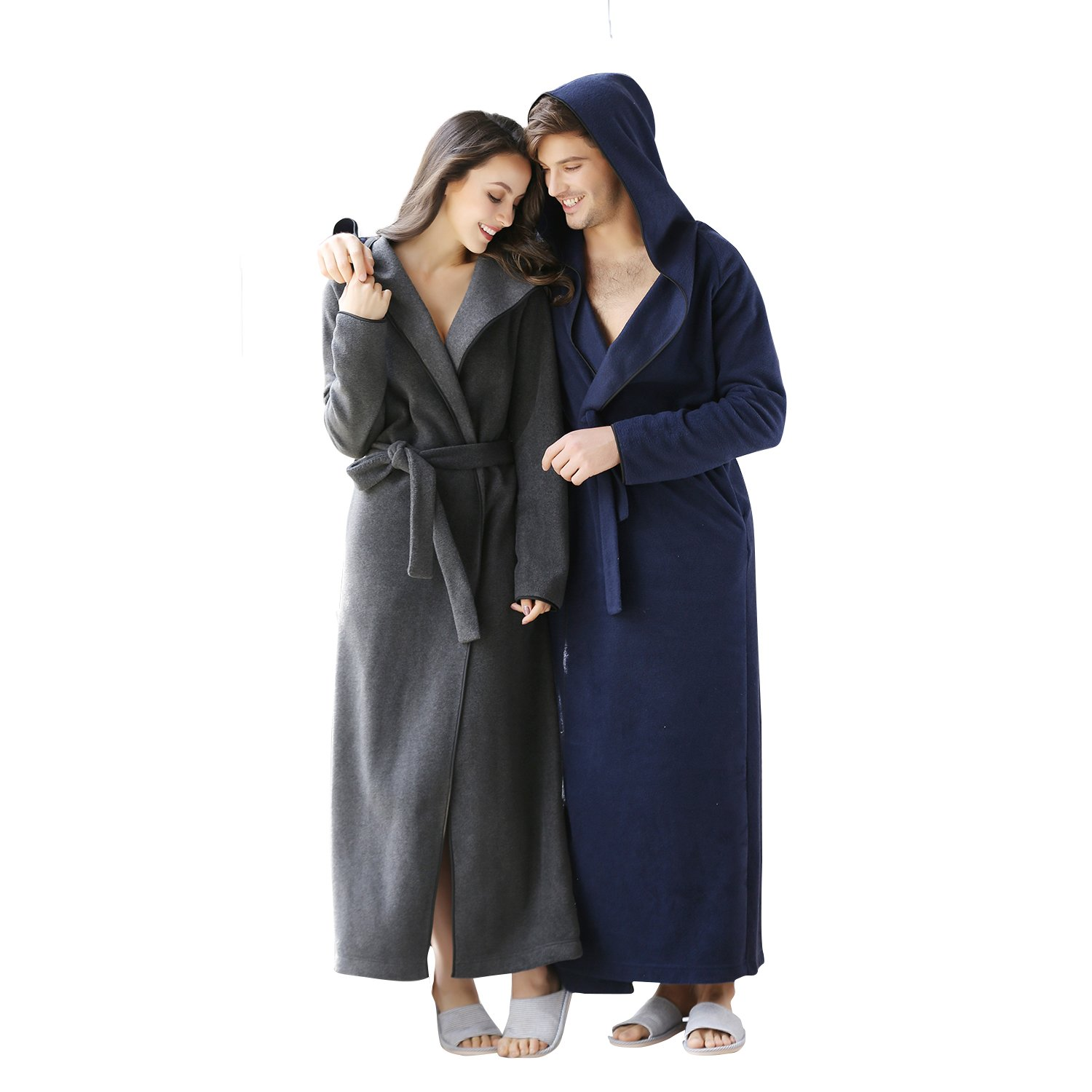 7 VEILS Women and Men Microfleece Ultra Long Floor-Length Hooded Bathrobes-Dark Gray-XL 1708NO3108