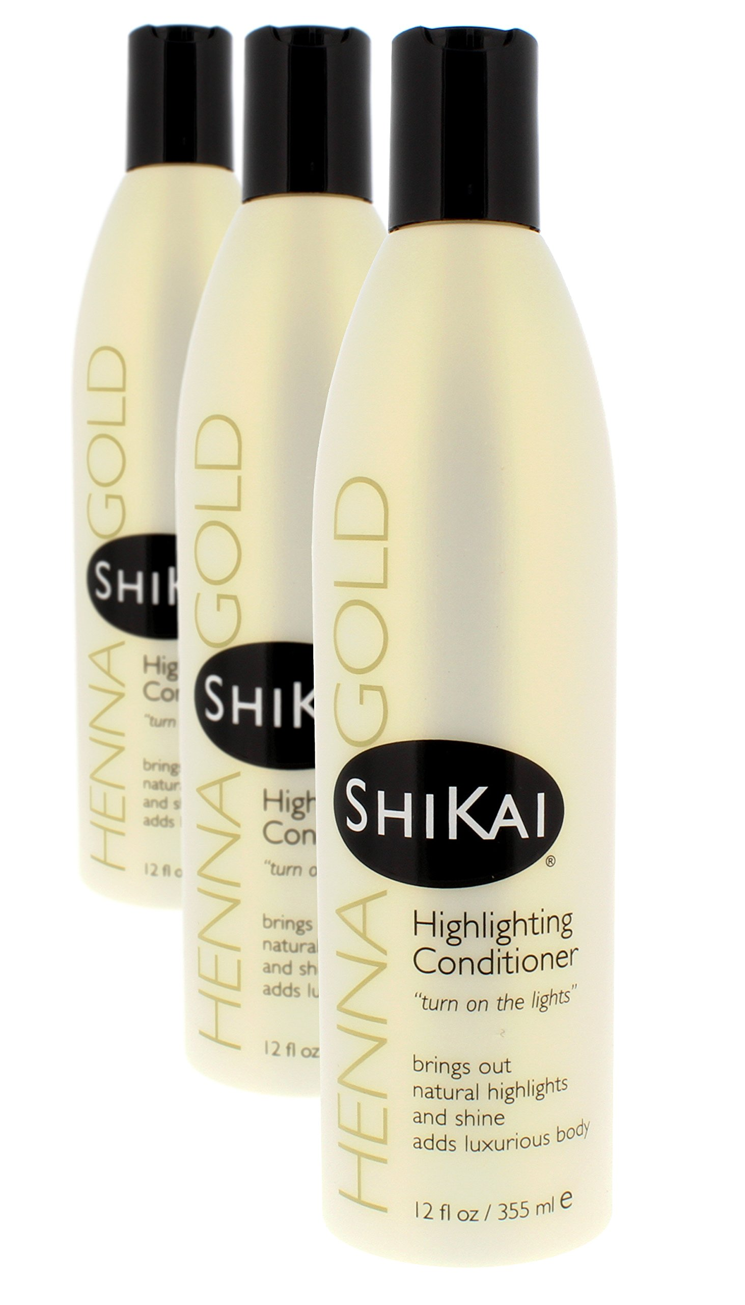 Shikai - Henna Gold Highlighting Conditioner, Brings Out Natural Highlights & Shine, Adds Luxurious Body, Plant-Based Formula with Non-Coloring Henna (Natural Fragrance, 12 fl oz, Pack of 3) by ShiKai