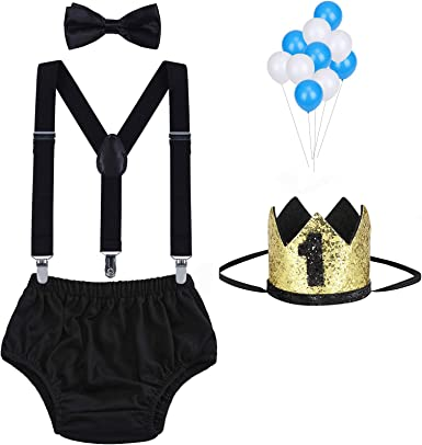 WELROG Baby Boys First Birthday Cake Smash Outfit Bow Tie Suspenders Bloomers Birthday Hat Sparkle Gold Set