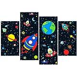 Rubybloom Designs Space Rocket Alien Planet Earth Star Galaxy - 4 Panel Canvas Art Print Picture
