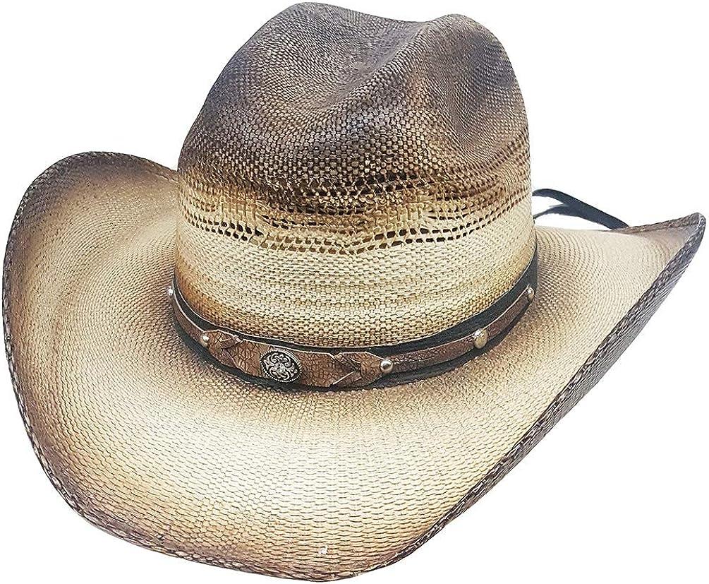 Modestone Traditional Bangora Rodeo Straw Cowboy Hat Beige