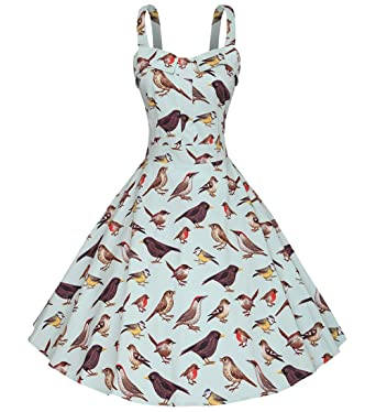 a1f03689e11f1 Amazon.com  Tecrio Women s 50s 60s Vintage Floral Rockabilly Sleeveless  Strappy Swing Dress  Clothing