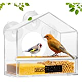 VIVOHOME Squirrel Proof Sloping Roof Clear Acrylic Window Bird Feeder with Strong Suction Cups and Sliding-Out…