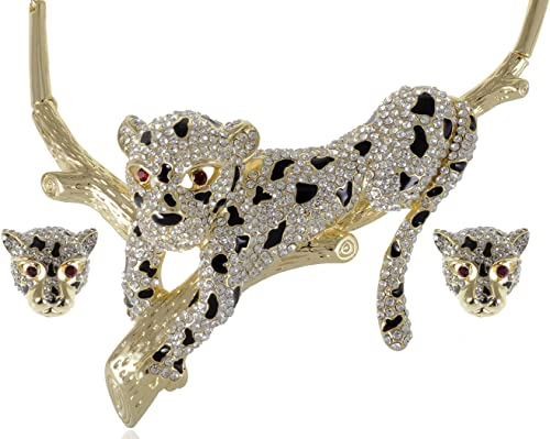 Crystal Elements Black Gold Tone Cheetah Magical Time Necklace Set