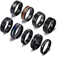 RIOSO 9Pcs Stainless Steel Rings for Men Women Cool Fidget Spinning Chain Anxiety Relief Ring Fashion Simple Wedding…