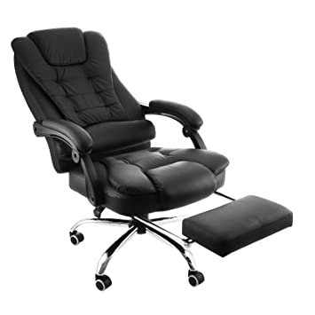 Happybuy Exectuive Swivel Office Chair With Footrest PU Leather Ergonomic  Office Reclining Chair Adjustable High Back