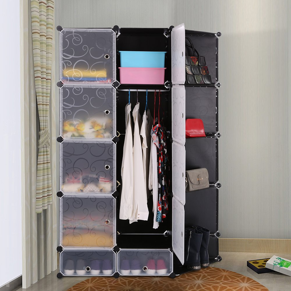 Portable DIY Storage Cabinet,Cubby Shelving Modular 15 Cube Storage Space Saving Wardrobe Closets with Stickers for Bedroom Clothes Shoes Toys (Black) by maxgoods (Image #5)