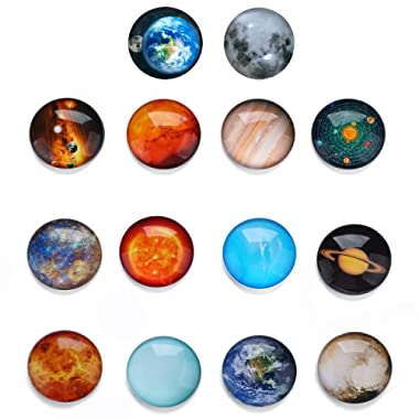 HXDZFX Planetary Fridge Magnets Solar System -14 PCS Refrigerator Magnets,Office Magnets,Calendar Magnet,Whiteboard Magnets,Perfect Decorative Magnet Set with Storage Box