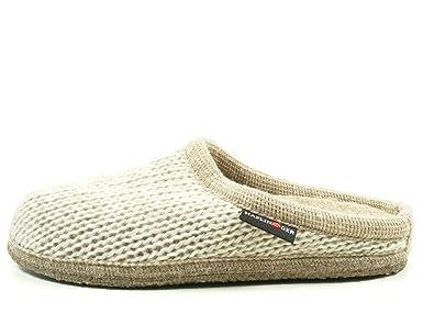 Haflinger 611087-0 Walktoffel Uni Damen Hausschuhe Pantoffeln Wolle, Schuhgröße:38, Farbe:Beige