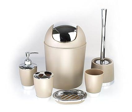 Set de 6 accesorios para el cuarto de baño GMMH, para cepillos de dientes,  para el inodoro, para el jabón