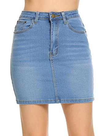 Womens Stretch Bodycon Denim Mini Skirt, Blue, Small