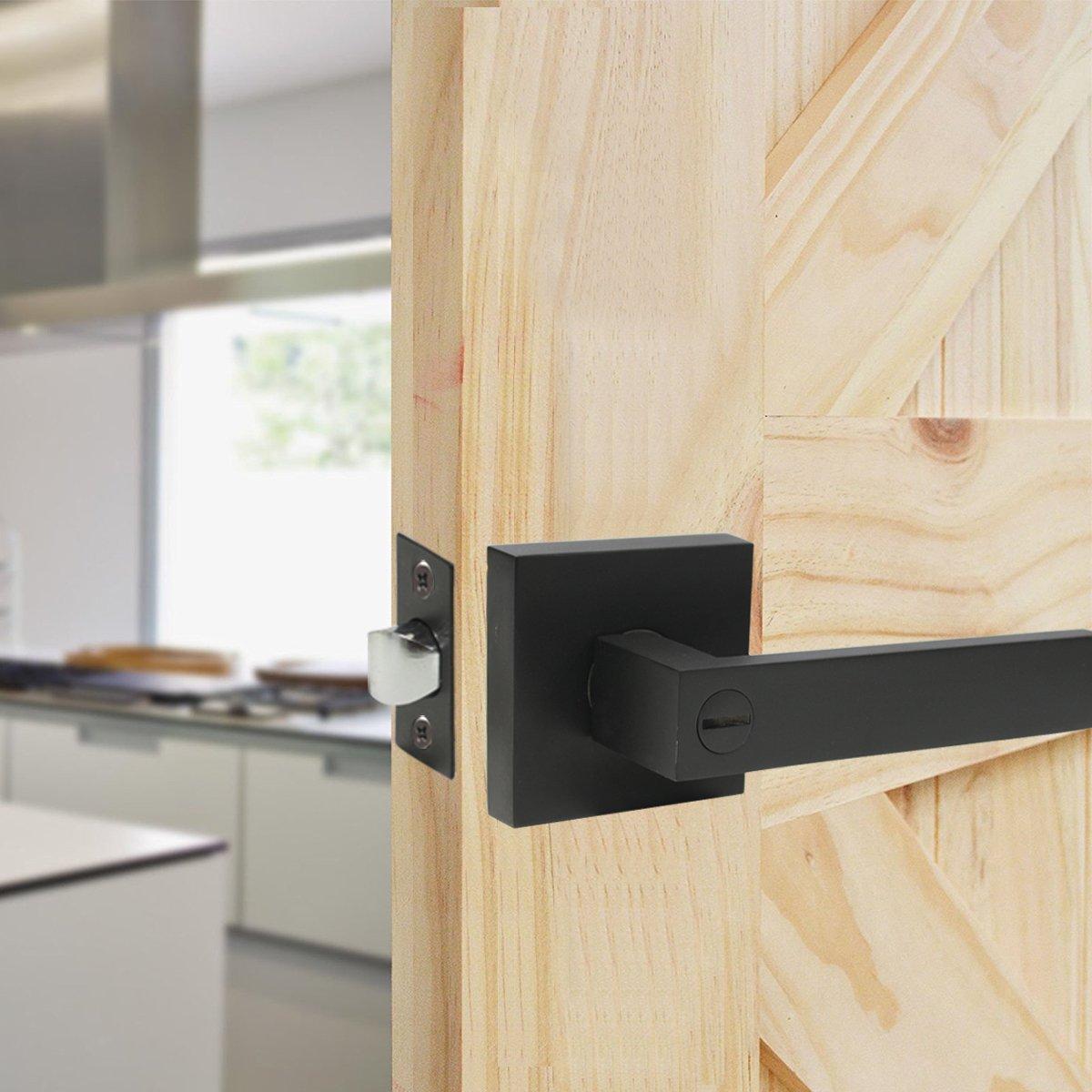 1 Pack Probrico Square Interior Door Lever Door Knob Door Handle Lock Half Dummy Keyless Door knobs Door DL01-BK-DM,Black