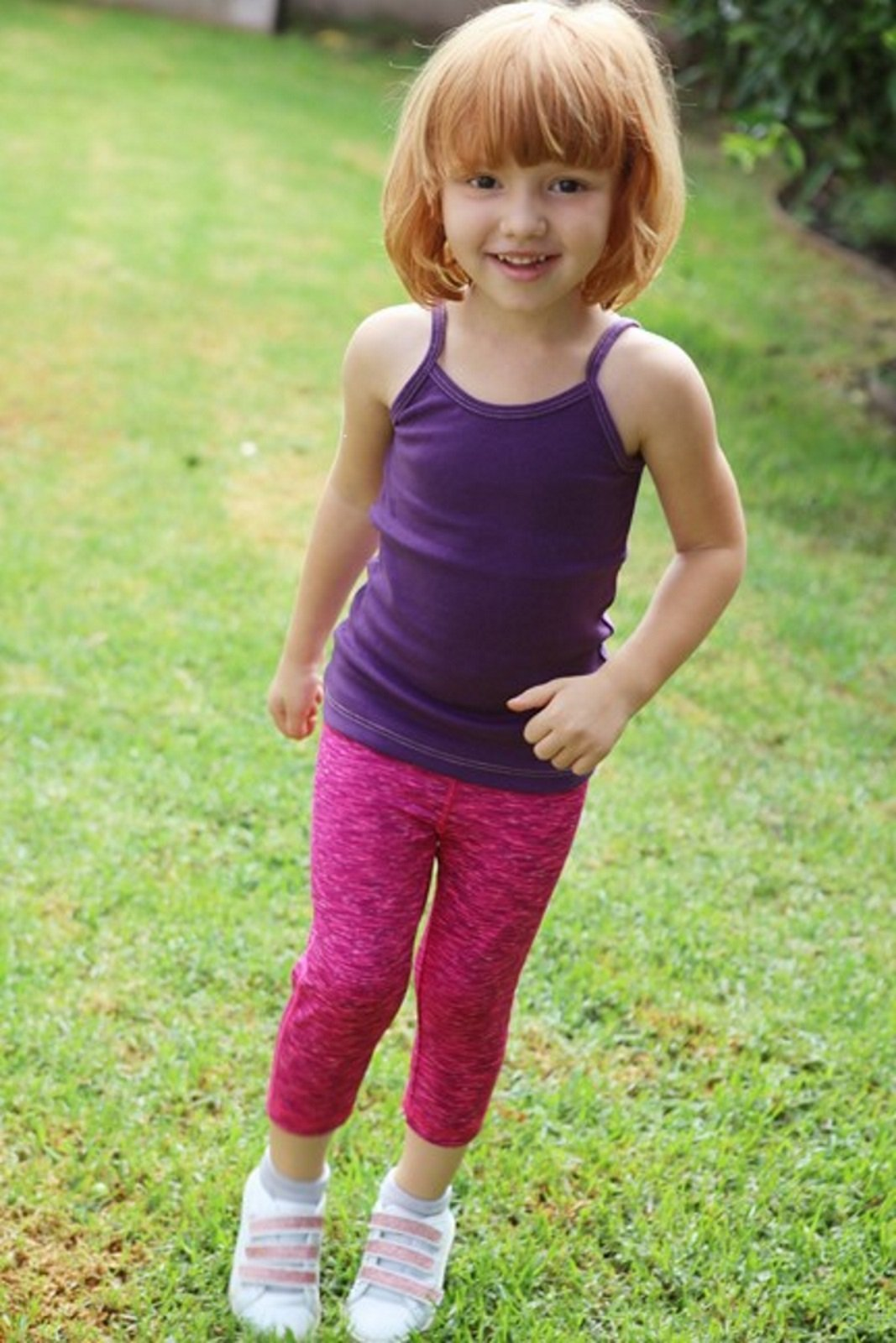 City Threads Girls' Workout Leggings Capri Summer High Performance Legging For School Camp Sports Dance Gymnastics and Playing, Pink/Purple/Black, 16 by City Threads (Image #3)