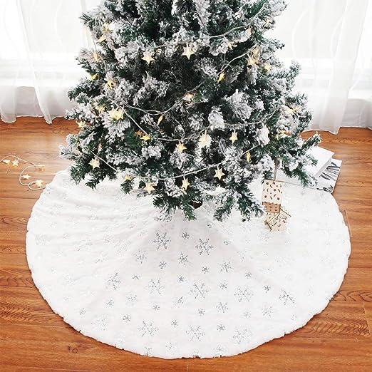Prettywan Falda de árbol de Navidad, 122 cm, Grande, Color Blanco ...