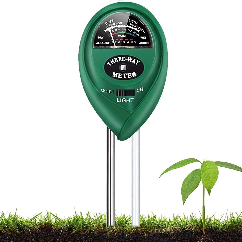 Soil Test Kit, 3-in-1 Soil Tester with Moisture,Light and PH Test for Garden, Farm, Lawn, Indoor & Outdoor, Soil Moisture Meter, Soil Water Monitor