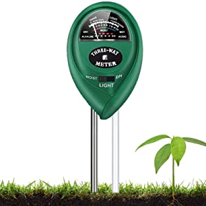 Soil Test Kit, 3-in-1 Soil Tester with Moisture,Light and PH Test for Garden, Farm, Lawn, Indoor & Outdoor, Soil Moisture Meter, Soil Water Monitor