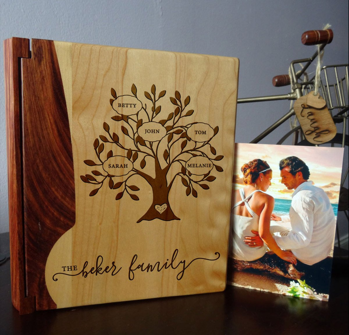Personalized Wood Cover Photo Album, Custom Engraved Family Tree Wedding Album, Style 121 (Maple & Walnut Cover)