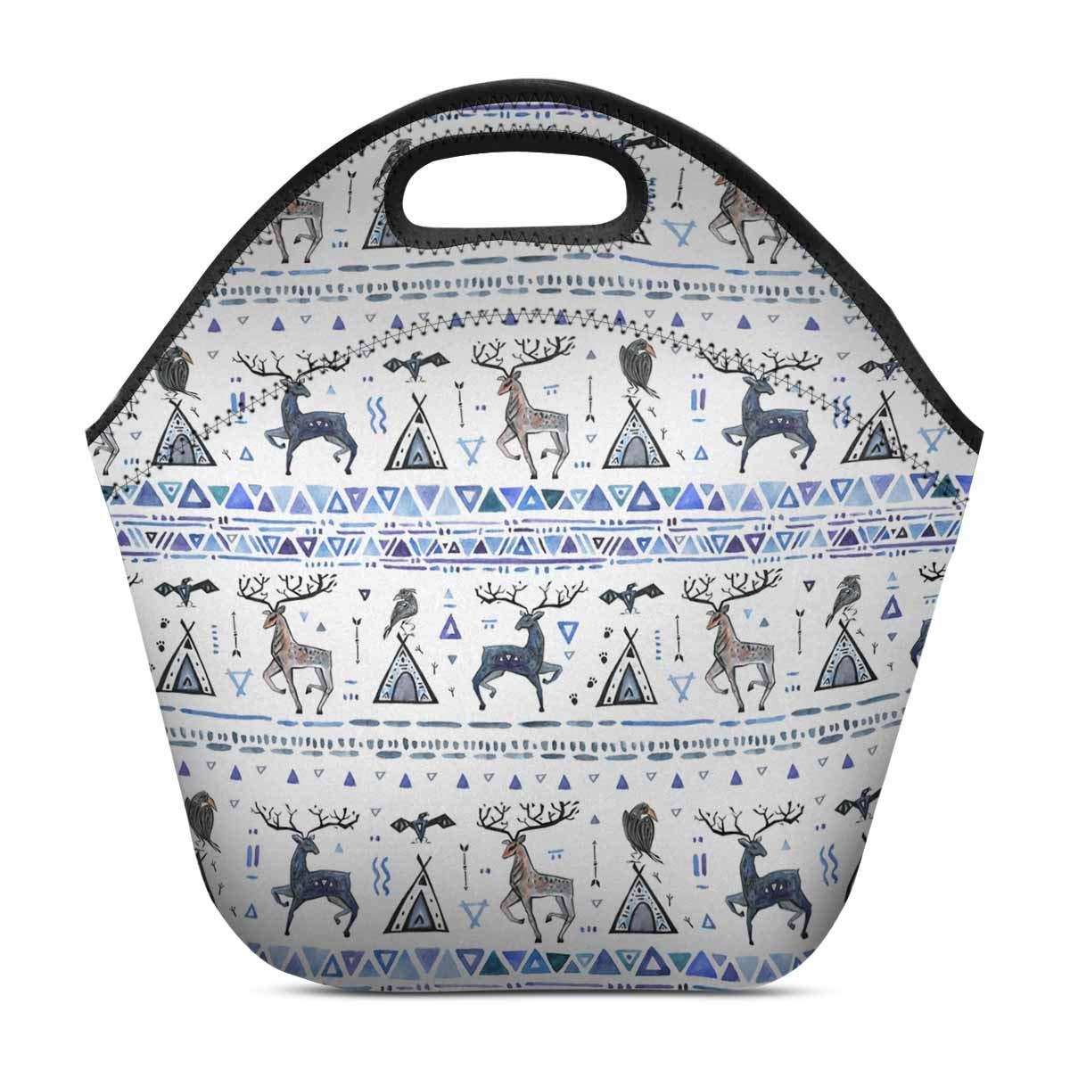 InterestPrint Neoprene Lunch Bag Animals Dream Catcher Insulated Lunchbox Handbag