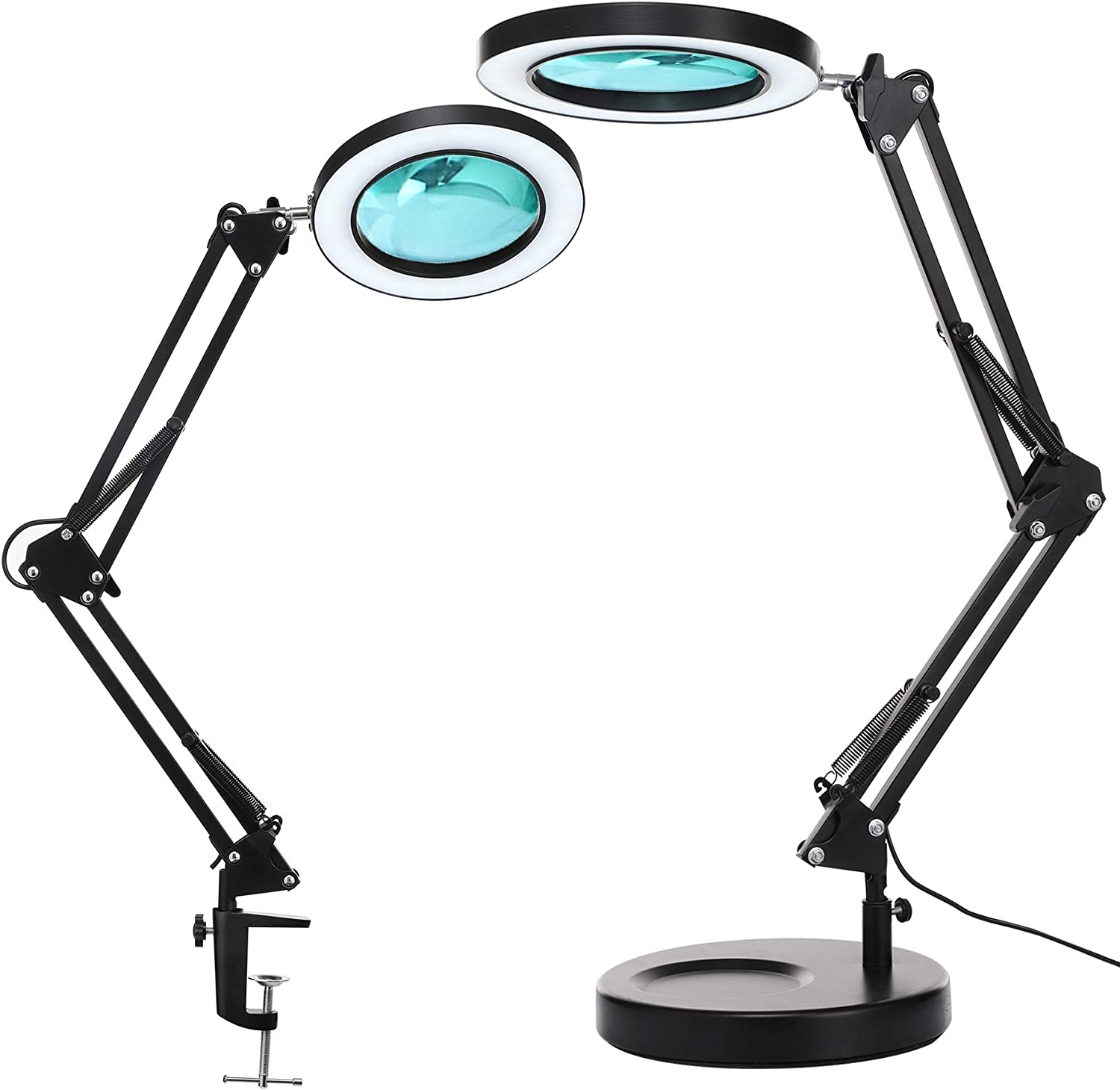 5-Diopter 4.1 Real Glass LANCOSC 2-in-1 Magnifying Desk Lamp with Clamp LED Magnifier with Light and Stand for Repair Close Works Stepless Dimmable 3 Color Modes Crafts Reading Black