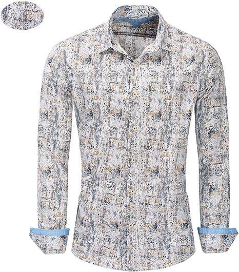 X&Armanis Camisa Casual para Hombre, Camisa Estampada Vintage Que combina con el Color Camisa Transpirable de algodón (Gris Blanco),2XL: Amazon.es: Deportes y aire libre