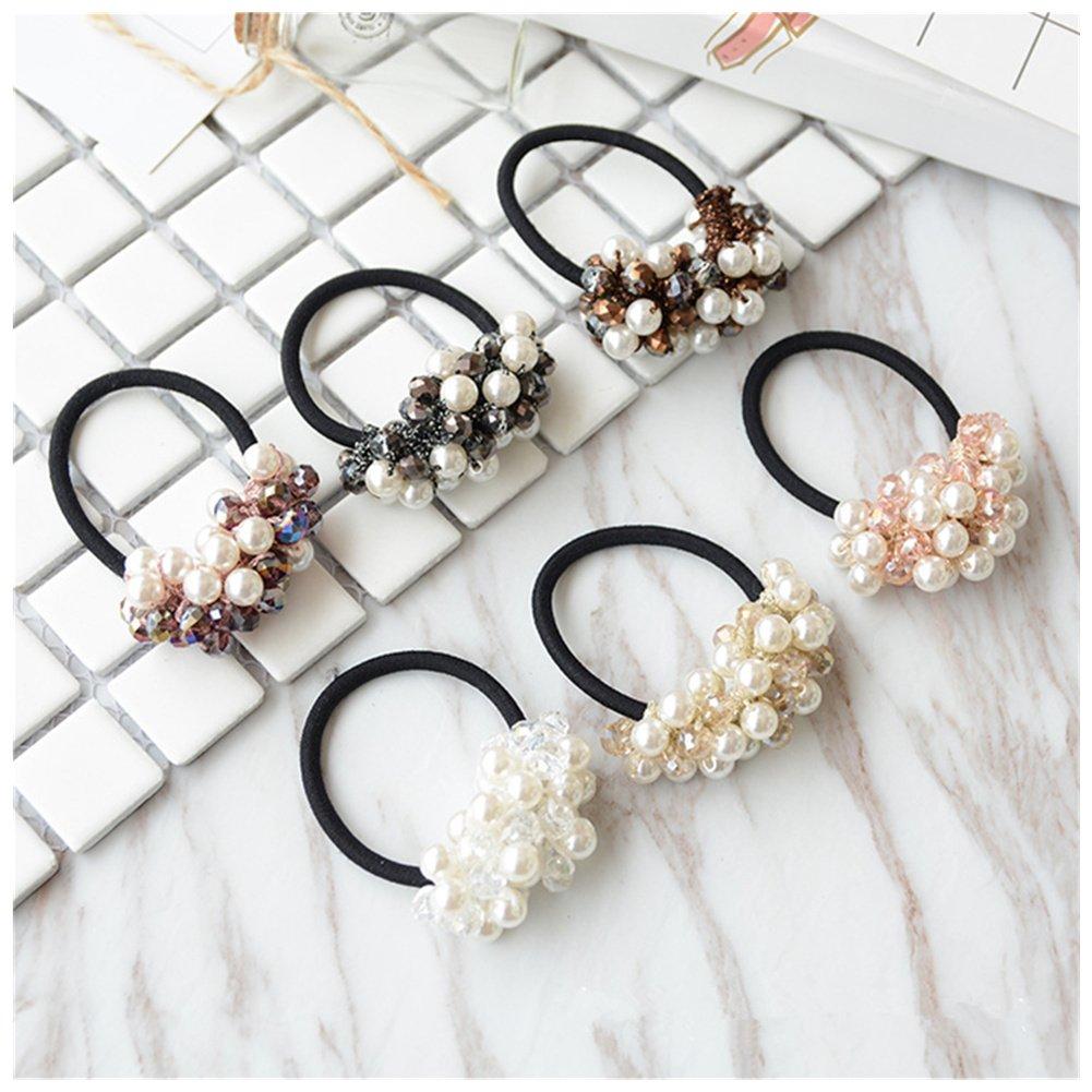 Lovef 5 Pcs Girl Women Pearl Crystal Hair Accessories Elastic Ties Hair Rope Fashion Hair Headband Ponytail Holders Hair Tie 2017