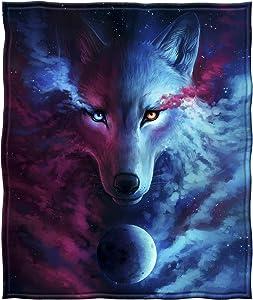 Dawhud Direct Fleece Throw Blanket (Celestial Wolf)
