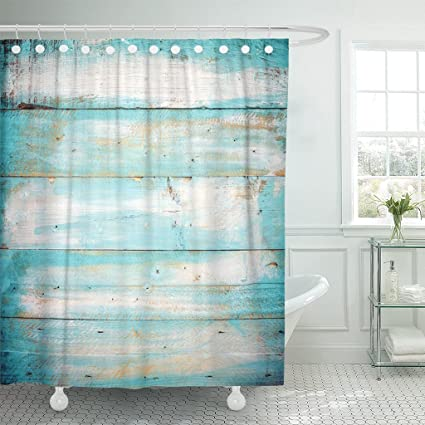 Image Unavailable Not Available For Color Emvency Shower Curtain Teal Vintage Beach