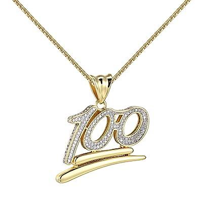 "100 Percent Emoji Pendant Hundred 14k Gold Finish 24"" Chain Lab"